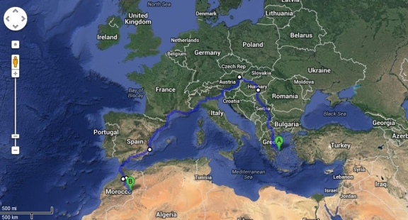 Athens to Morocco route